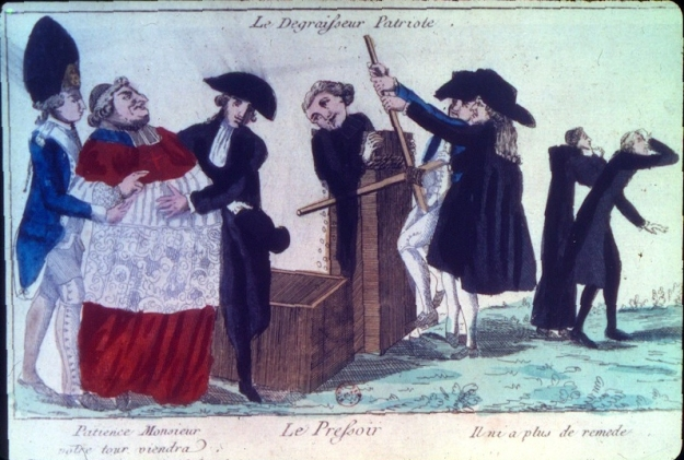 """The Patriotic De-Fattening Machine."" With the abolition of the privileges of the nobility and the clergy, an emerging theme of propaganda and caricature was making fun of the clergy and their extravagant ways of living. Here an obese prelate is readied to undergo a suitable reduction of weight by the patriotic de-fattening machine. A soldier and member of the Third Estate escort him to his fate, while two other clerics limp off after having had the treatment. More broadly, the print expresses the anti-clericalism that emerged in the Enlightenment and grew more widespread during the Revolution."