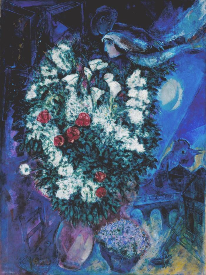 Bouquet with Flying Lovers c.1934-47 by Marc Chagall 1887-1985